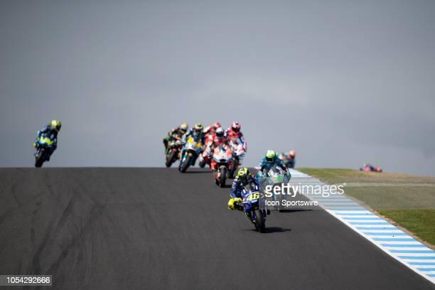 Movistar Yamaha MotoGP rider Valentino Rossi in qualifying during The 2018 Australian MotoGP at The Phillip Island Circuit in Victoria Australia on...