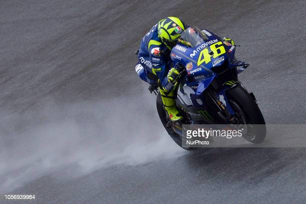 Movistar Yamaha MotoGP rider Valentino Rossi of Italy powers the bike during qualifying session of Malaysian Motorcycle Grand Prix at Sepang...