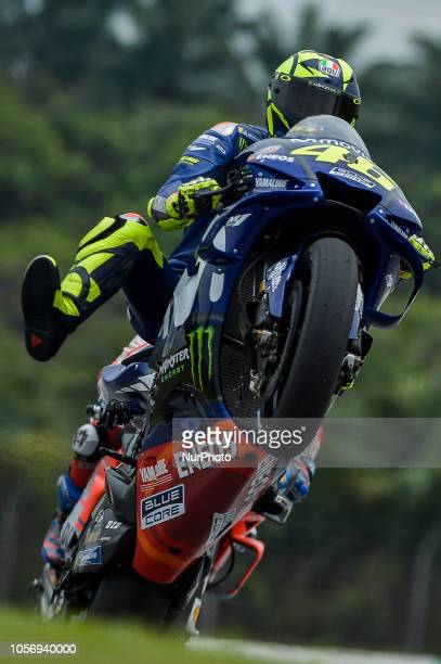Movistar Yamaha MotoGP rider Valentino Rossi of Italy powers the bike during free practice 3 session of Malaysian Motorcycle Grand Prix at Sepang...