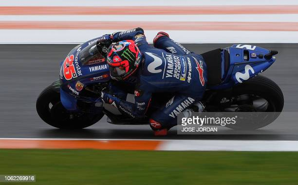 Movistar Yamaha MotoGP Spanish rider Maverick Viñales rides during the first free practice session of the MotoGP Valencia Grand Prix at the Ricardo...
