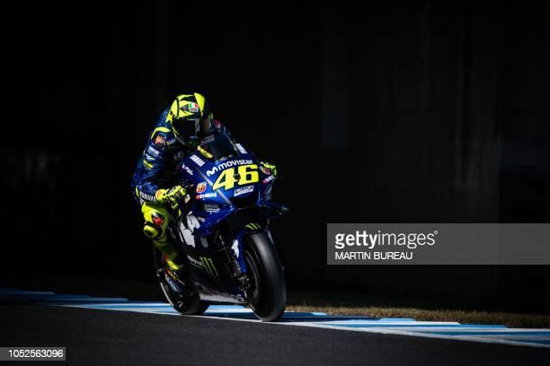 Movistar Yamaha MotoGP team Italian rider Valentino Rossi participates in the third practice session ahead of the MotoGP Japanese Grand Prix at Twin...