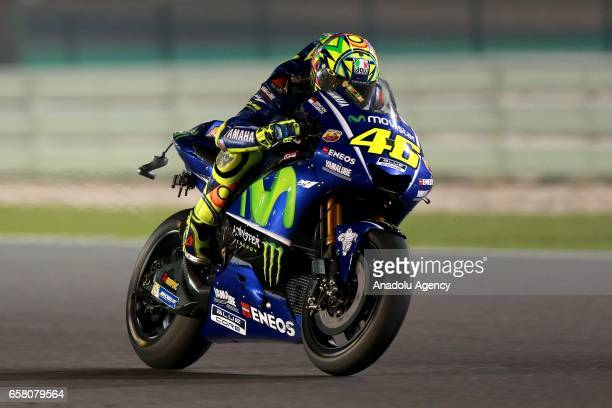 Movistar Yamaha MotoGP's Italian rider Valentino Rossi competes during the 2017 Qatar MotoGP at the Losail International Circuit north of the capital...