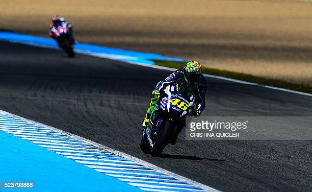 Movistar Yamaha MotoGP's Italian rider Valentino Rossi competes in the MotoGP race of the Spanish Moto Grand Prix at the Jerez racetrack in Jerez de...