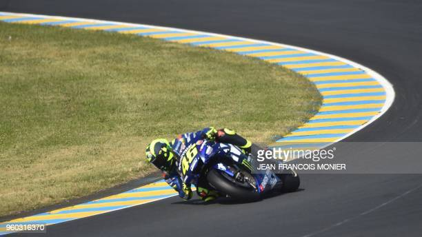 Movistar Yamaha MotoGP's Italian rider Valentino Rossi drives during the warmup ahead of the French motorcycling Grand Prix on May 20 2018 in Le Mans...