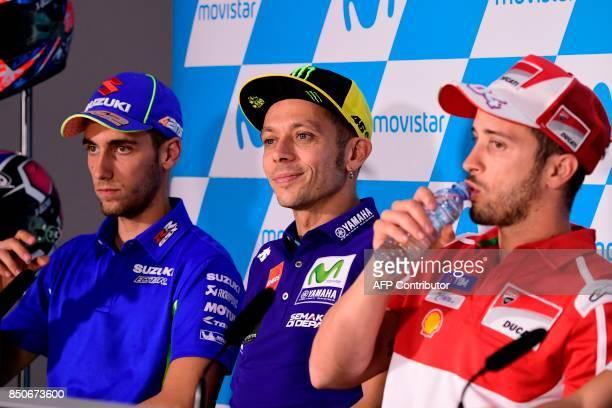 Movistar Yamaha MotoGP's Italian rider Valentino Rossi , Ducati Team's Italian rider Andrea Dovizioso and Team Suzuki Ecstar's Spanish rider Alex...