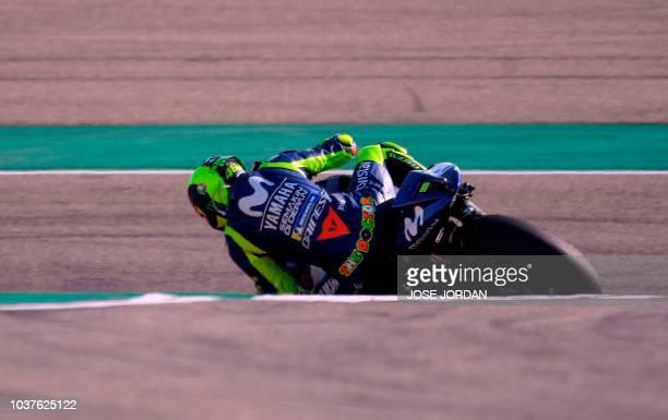 TOPSHOT Movistar Yamaha MotoGP's Italian rider Valentino Rossi rides during the MotoGP third free practice of the Aragon Grand Prix at the Motorland...