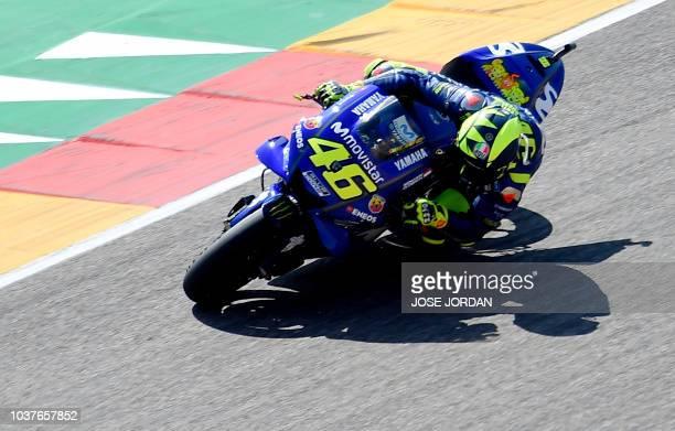 Movistar Yamaha MotoGP's Italian rider Valentino Rossi rides during the MotoGP fourth free practice of the Aragon Grand Prix at the Motorland...