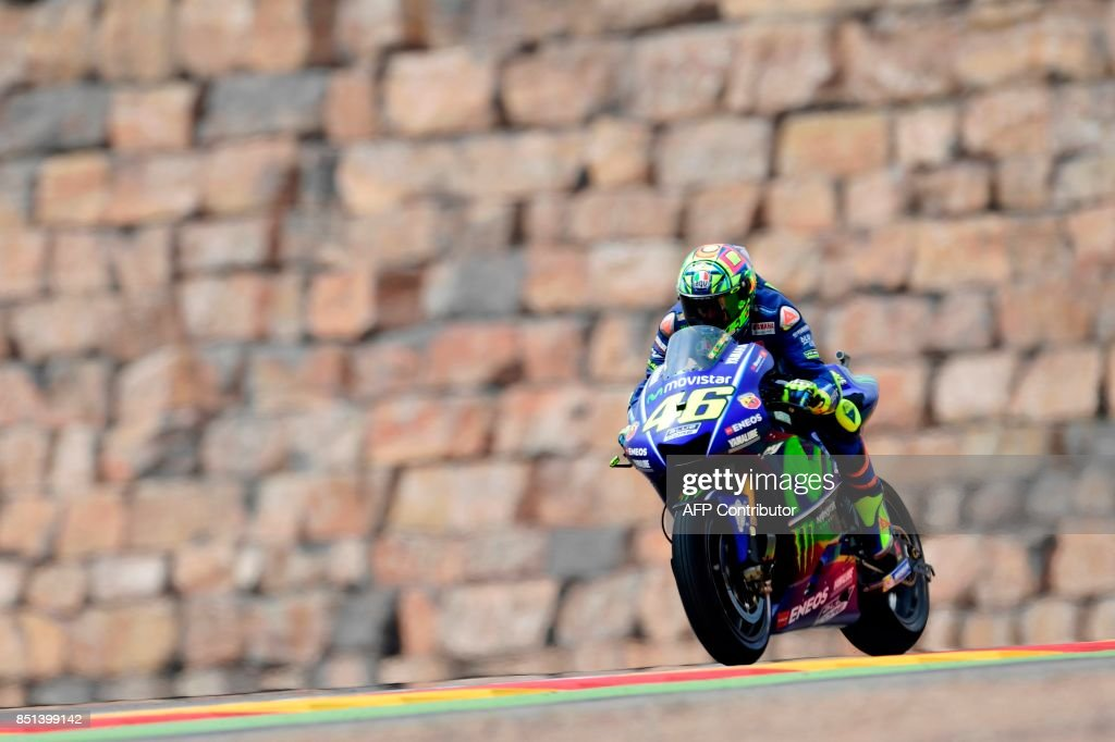 Movistar Yamaha MotoGP's Italian rider Valentino Rossi rides during the Moto GP second free pratice of the Moto Grand Prix of Aragon at the Motorland circuit in Alcaniz on September 22, 2017. /