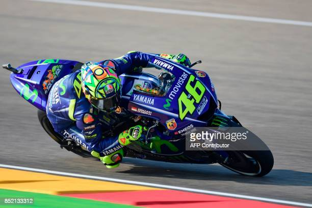 Movistar Yamaha MotoGP's Italian rider Valentino Rossi rides during the Moto GP third free pratice of the Moto Grand Prix of Aragon at the Motorland...