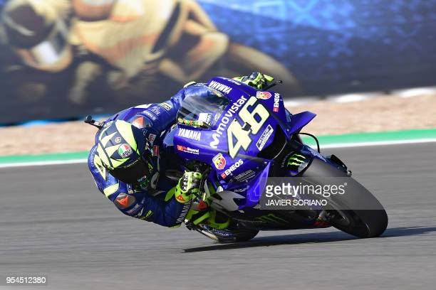TOPSHOT Movistar Yamaha MotoGP's Italian rider Valentino Rossi rides during the first MotoGP free practice session of the Spanish Grand Prix at the...