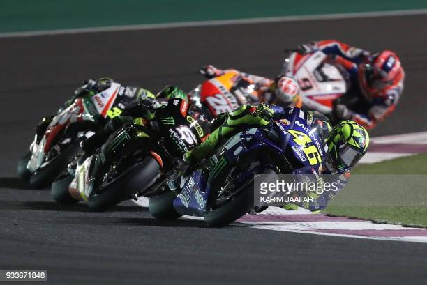 Movistar Yamaha MotoGP's Italian rider Valentino Rossi rides his Honda during the 2018 Qatar Moto GP Grand Prix at the Losail International Circuit...
