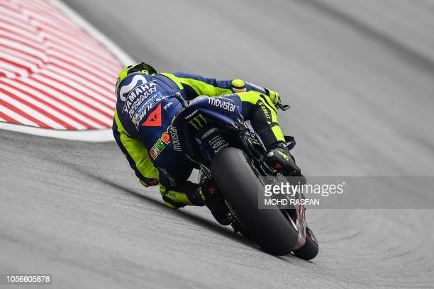 Movistar Yamaha MotoGP's Italian rider Valentino Rossi takes a corner during the third practice session of the Malaysia MotoGP at the Sepang...