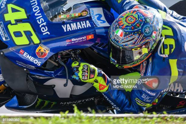 Movistar Yamaha MotoGP's Italian rider Valentino Rossi takes a corner during the last day of the 2018 MotoGP preseason test at the Sepang...