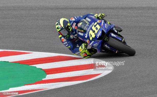 Movistar Yamaha MotoGP's Italian rider Valentino Rossi takes part in the free practice session of the San Marino Moto GP Grand Prix race at the Marco...