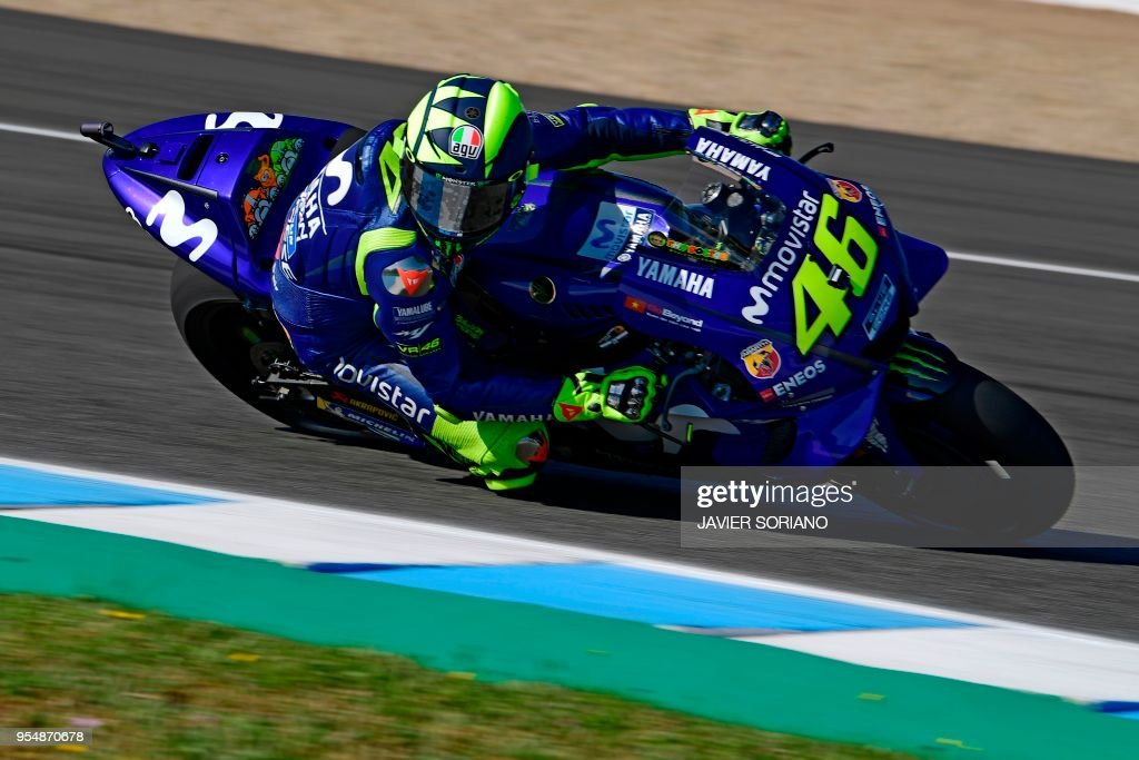 Movistar Yamaha MotoGP's Italian rider Valentino Rossi takes part in the third MotoGP free practice session of the Spanish Grand Prix at the Jerez racetrack in Jerez de la Frontera on May 5, 2018.