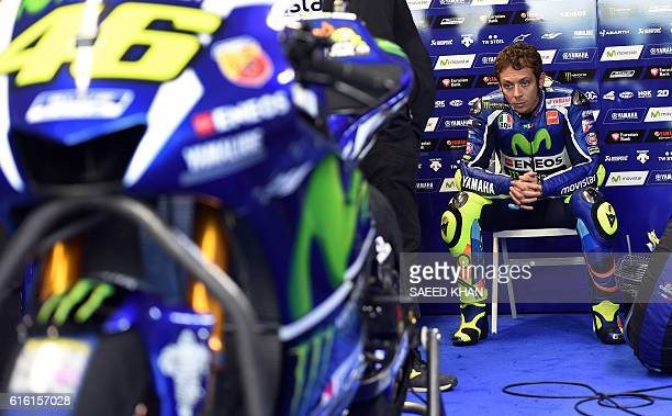 Movistar Yamaha MotoGP's Italian rider Valentino Rossi waits for the qualifying session of the MotoGP class at the Australian Grand Prix at Phillip...