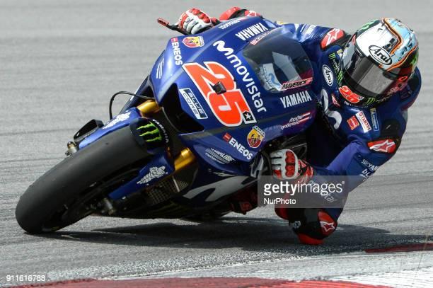 Movistar Yamaha MotoGP's rider Maverick Vinales of Spain powers his bike during the second day of the 2018 MotoGP preseason test at the Sepang...