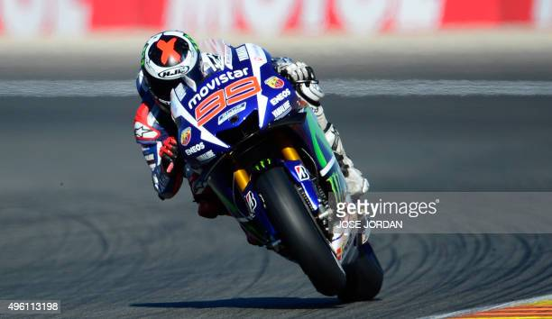 Movistar Yamaha MotoGP's Spanish rider Jorge Lorenzo rides during the MotoGP qualifying session on the eve of the Valencia Grand Prix at Ricardo...