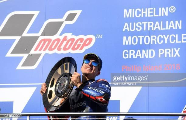 Movistar Yamaha MotoGP's Spanish rider Maverick Vinales celebrates on the podium of the MotoGP Australian Grand Prix at Phillip Island on October 28...