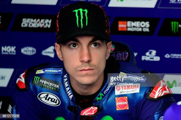 Movistar Yamaha MotoGP's Spanish rider Maverick Vinales looks on during the Moto GP first free practice during the Moto Grand Prix of Aragon at the...