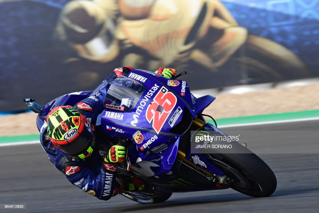 TOPSHOT - Movistar Yamaha MotoGP's Spanish rider Maverick Vinales rides during the first MotoGP free practice session of the Spanish Grand Prix at the Jerez racetrack in Jerez de la Frontera on May 4, 2018.