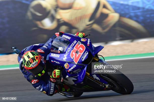 TOPSHOT Movistar Yamaha MotoGP's Spanish rider Maverick Vinales rides during the first MotoGP free practice session of the Spanish Grand Prix at the...