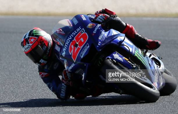 TOPSHOT Movistar Yamaha MotoGP's Spanish rider Maverick Vinales takes a corner during the MotoGP Australian Grand Prix at Phillip Island circuit on...