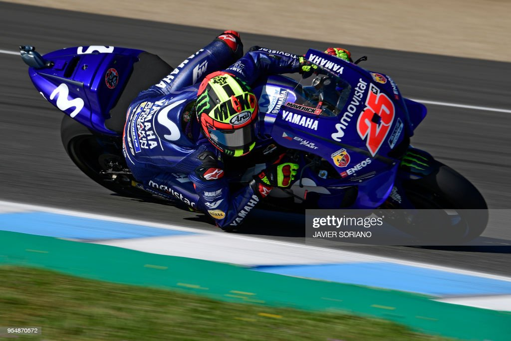 Movistar Yamaha MotoGP's Spanish rider Maverick Vinales takes part in the third MotoGP free practice session of the Spanish Grand Prix at the Jerez racetrack in Jerez de la Frontera on May 5, 2018.