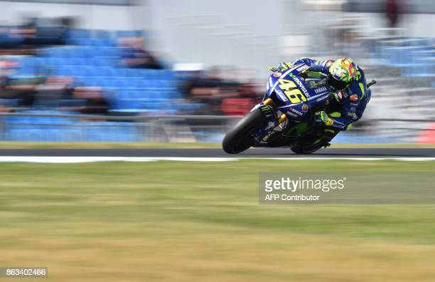 TOPSHOT Movistar Yamaha rider Valentino Rossi of Italy competes during the second practice at Phillip Island circuit on Phillip Island on October 20...