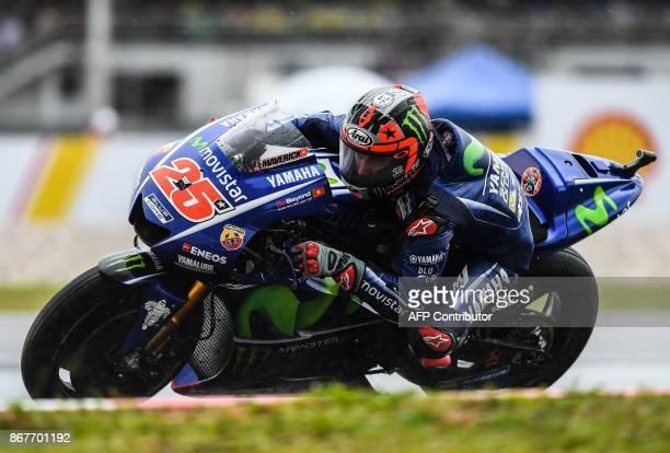 Movistar Yamaha Spanish rider Maverick Vinales competes during the Malaysia MotoGP at the Sepang International Circuit in Sepang on October 29 2017 /...