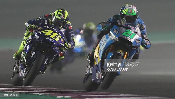 Movistar Yamaha's Italian driver Valentino Rossi competes during the MOTO GP qualifiers at the Losail International Circuit in Doha on March 17 2018...