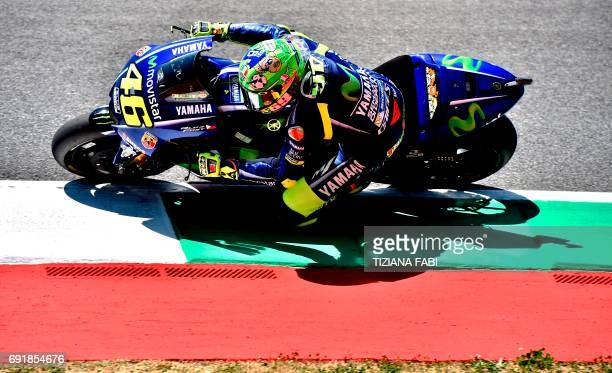 Movistar Yamaha's Italian rider Valentino Rossi competes during the Moto GP qualifying session of the Italian Grand Prix at the Mugello racetrack on...