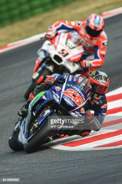 Movistar Yamaha's spanish rider Maverick Vinales rides his bike during a qualifying session for the San Marino Moto GP Grand Prix race at the Marco...