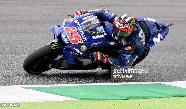 Movistar Yamaha's Spanish rider Maverick Vinales takes a curve during a free practice session ahead of the Italian MotoGP Grand Prix at the Mugello...