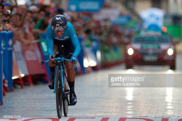 Movistar's Colombian cyclist Nairo Quintana rides in Malaga during the first stage of the 73rd edition of La Vuelta Tour of Spain cycling race an 8...