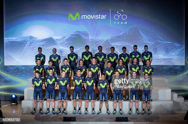 Movistar's riders of movistar Cycling Team pose for a family picture during the presentation of the 2017 squad at Telefonica headquarters in Madrid...