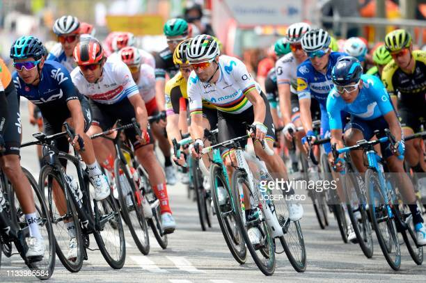 Movistar's Spanish Alejandro Valverde and Colombian Nairo Quintana ride during the seventh and last stage of the 99th Volta Catalunya 2019 a 143,1km...