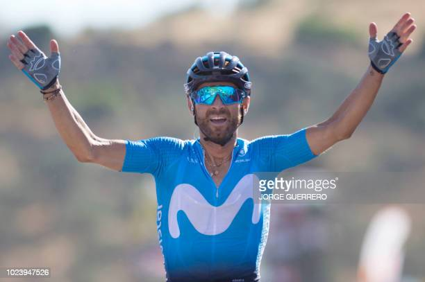 Movistar's Spanish cyclist Alejandro Valverde celebrates after winning in Ardales the second stage of the 73rd edition of La Vuelta Tour of Spain...