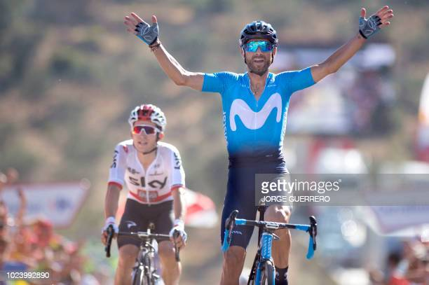 TOPSHOT Movistar's Spanish cyclist Alejandro Valverde celebrates in Ardales winning the second stage of the 73rd edition of 'La Vuelta' Tour of Spain...