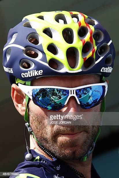 Movistar's Spanish cyclist Alejandro Valverde looks on before the second stage of the 2015 Vuelta Espana cycling tour a 1587km stage between Alhaurin...