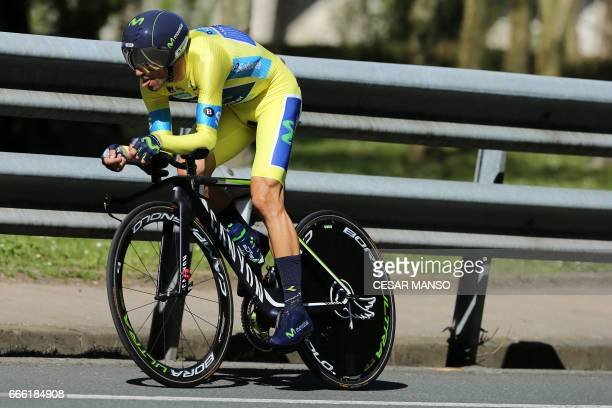 Movistar's Spanish rider Alejandro Valverde rides during the last stage of the 2017 Tour of the Basque Country a 277km individual time trial circular...