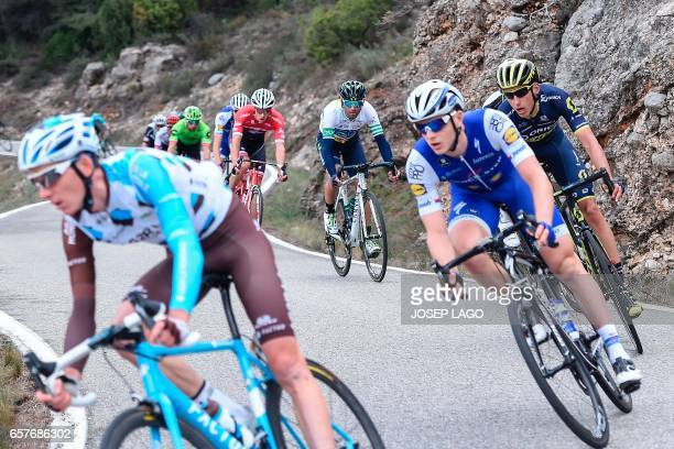 Movistar's Spanish rider Alejandro Valverde rides on the sixth day of the 97th Volta Catalunya 2017, a 189,7km stage from Tortosa to Reus, in Bot on...