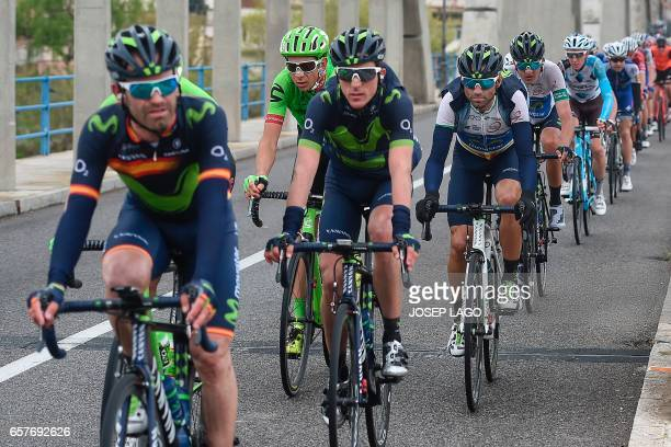Movistar's Spanish rider Alejandro Valverde rides on the sixth stage of the 97th Volta Catalunya 2017 a 189,7km from Tortosa to Reus, in Bot on March...
