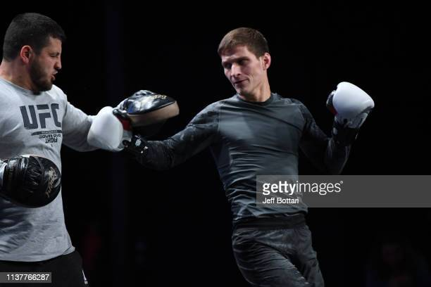 Movsar Evloev of Russia performs an open workout for fans and media during the UFC Fight Night Open Workouts event at A2 Green Concert Hall on April...