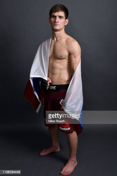 Movsar Evloev of Russia poses for a portrait backstage during the UFC Fight Night event at Yubileyny Sports Palace on April 20 2019 in Saint...