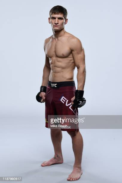 Movsar Evloev of Russia poses for a portrait during a UFC photo session on April 17 2019 in Saint Petersburg Russia