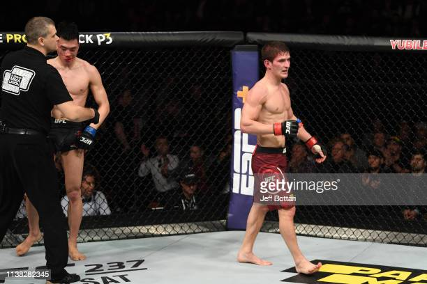 Movsar Evloev of Russia reacts after the conclusion of his featherweight bout against Seungwoo Choi of South Korea during the UFC Fight Night event...