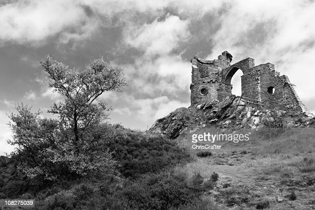 Mow Cop Castle Ruins on Hillside, Black and White