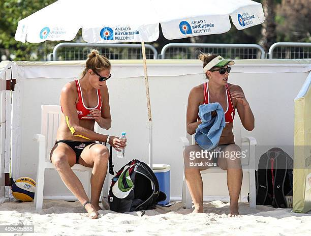 Mowen twins of Australia during the time out of the 1st day of the FIVB Antalya Open beach volley tournament October 20 in the Mediterranian resorty...