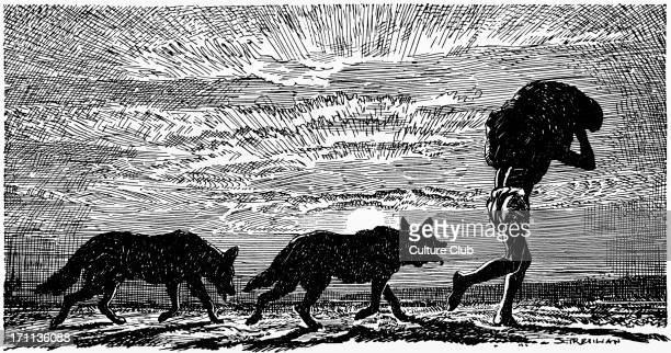 Mowgli 'Mowgli with two wolves at his heels and a bundle on his head' From 'All the Mowgli stories' by Rudyard Kipling RK English author and poet 30...